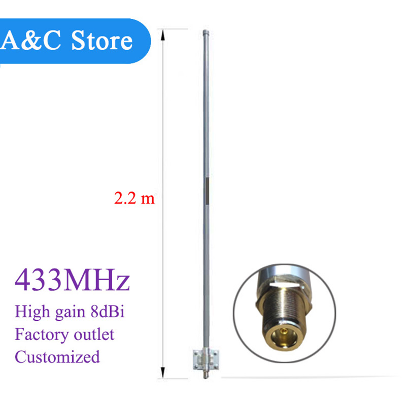 US $111 76 6% OFF|433MHz 8dBi omni fiberglass antenna 400 470mhz high gain  station roof antenna 2 2meters customized-in Antennas for Communications