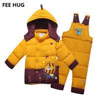 FEE HUG Kids Girls Down Jackets Clothes Russia Winter Sport Ski Suits Girls Boys Hooded Thicken
