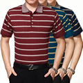 2016 New summer men's casual fashion contrast color striped short sleeve shirt polos shirt