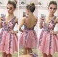 2017 rosa backless atractivo formal del partido vestidos vestidos del regreso al hogar corto vestidos de la celebridad kim kardashian red carpet dress cockatil