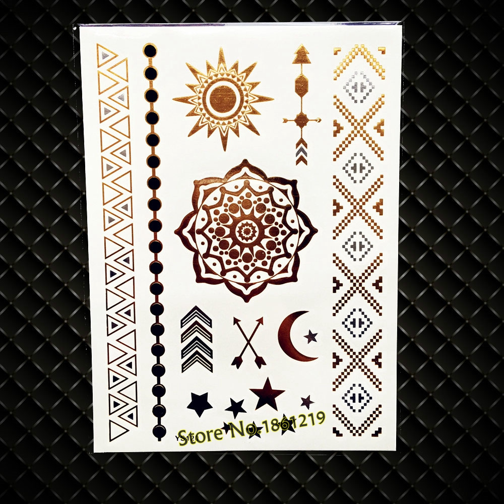 New Beauty Golden Henna Flower Mehndi Temporary Tattoo Women