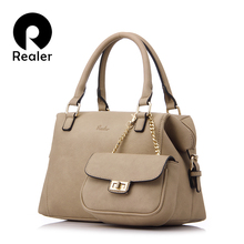 REALER brand design handbag women casual tote bag female solid  boston bag small shoulder messenger bags chain clutch purse