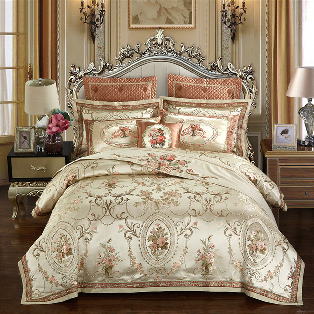 Gold Color Luxury Wedding Royal Bedding Set Queen King Size Cotton Bed  Sheet Set Embroidery Jacquard