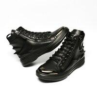 HEYIYI מותג מקורי באיכות נעלי מגפיים מזדמנים של הגברים הדפסת 3D שרוכי עור אמיתי העקב שטוח רוכסן עמיד למים