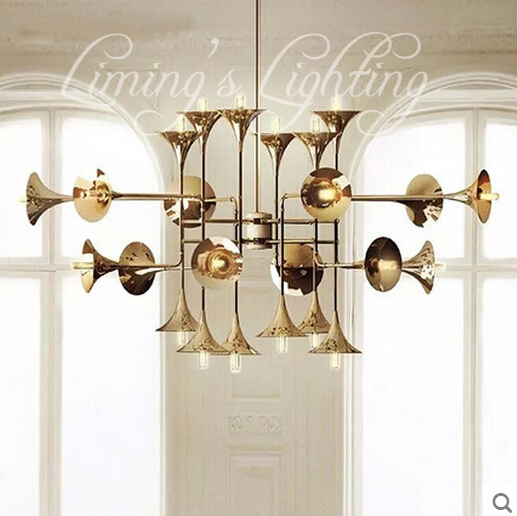 Golden Horne Droplight Modern Speaker Iron Musical Instruments Creative Modern Chandelier Lighting Art Pandant Lamp Ceiling