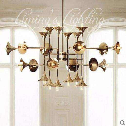 Golden Horne Droplight Modern Speaker Iron Musical Instruments Creative Modern Chandelier Lighting Art Pandant Lamp Ceiling