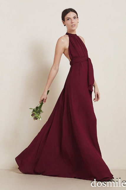 982f7f2248f 2016 unique high neck Beautiful red burgundy bridesmaid dresses off the  shoulder sexy wedding party gowns with sash floor length