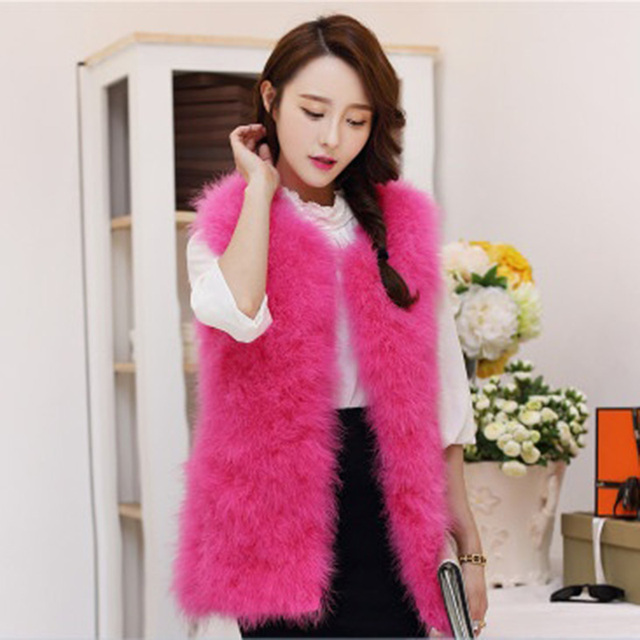 3656a10ecd 2017 Fashion Spring Women Ostrich Fur Vest Waistcoat Short Medium Long Warm  Faux Fur Vest Pink