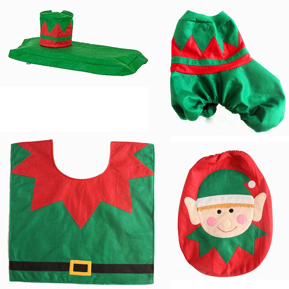 Christmas Elf Toilet Seat Cover Tank Cover Xmas Bathroom Decoration Bathroom  Products Pedestal Pan Cushion Pads
