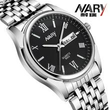 NARY Luxury Fashion Watch Men Women Stainless Steel Band Quartz Watch Retro Roman numerals Business Wristwatch