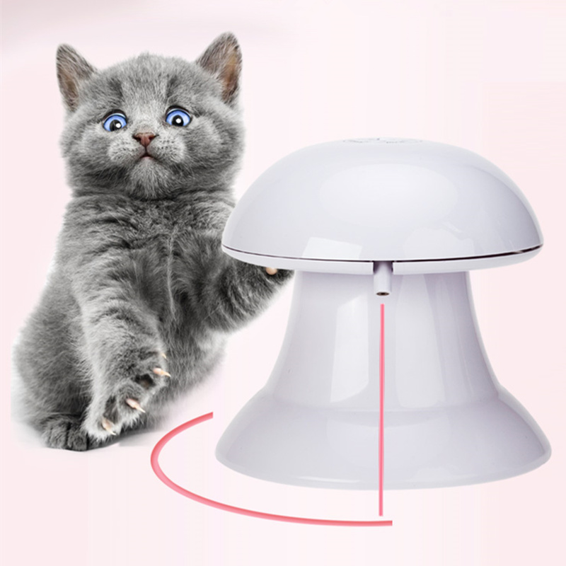 Funny Cat Dog Laser Toy 360 Degree Automatic Rotate Laser Light Interactive Toy with Speed Control Button Cat Play Electric Toys