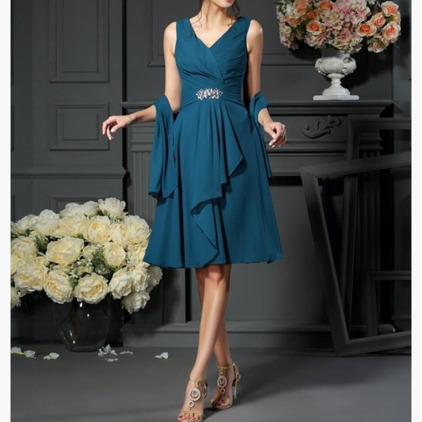 Dark Blue V Neck Elegant Chiffon Crystals Ruffle Knee Length Mother Of The Bride Dress Plus Size Vestido De Festa Longo in Mother of the Bride Dresses from Weddings Events