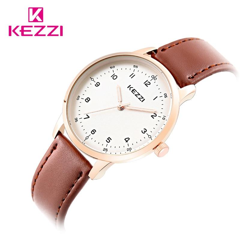 KEZZI White Dial Wrist Watch Unisex Fashion Men Women Dress Quartz Clock Leather Couple Watches relogio feminino Wholesale Black