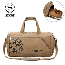 Купить с кэшбэком Scione Vintage Sports Travel Bags Men Canvas Luggage Hand Crossbody Bag Large Casual Durable Printing Shoulder Shoe Pack Storage