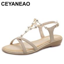CEYANEAO2019New женские босоножки Летний Стиль Мода Туфли c открытым носком; сандалии на плоской подошве женская обувь 2 цвета женская обувь E1764