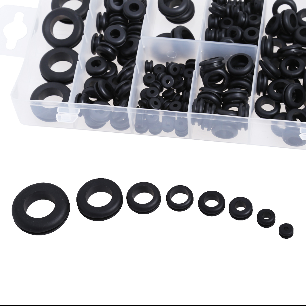 180pcs Rubber Grommets Set 8 Popular Sizes Protect Plug Wire Cable Ring Assortment Fastener Electrical Grommet Gasket Tools Kit
