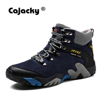 Cajacky Natural Genuine Leather Boots Men With Warm Plush Winter Men Boots Anti Skidding Winter Shoes