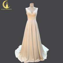 JIALINZEYI Sexy V Neck Fashion Backless High Satin With Pockets A-line Fashion Hot Sale Bridal Wedding Dresses Wedding Gown 2018