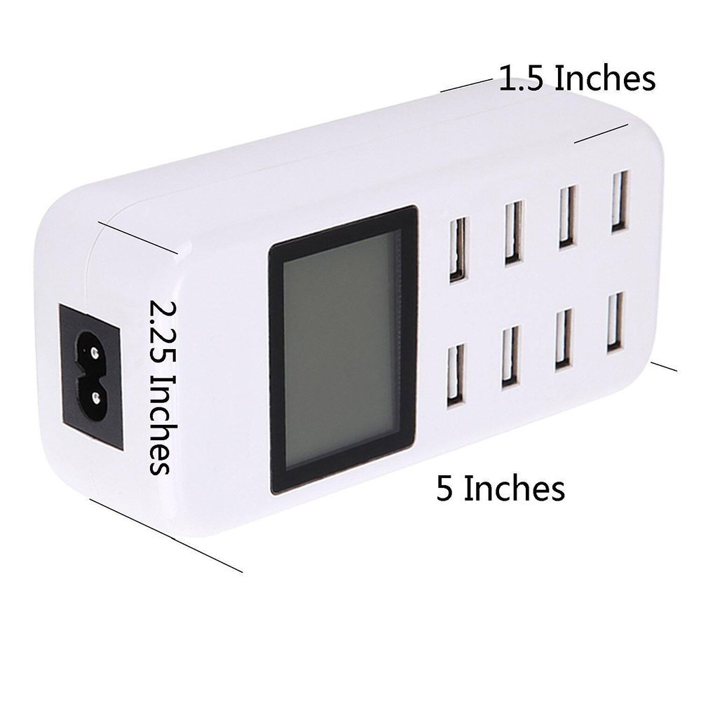 8 Ports USB Home Charger Adaptor for iPhone cellphone tablet Huawei P10 Desktop Intellegent Charger Adapter with LED Display