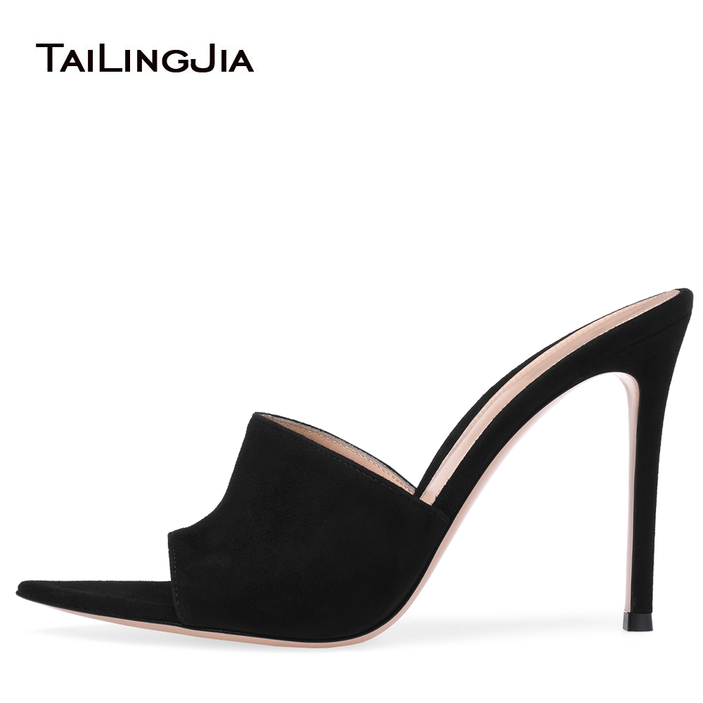 Women Open toe High Heel Mules Black Suede Dress Shoes White Wedding Heels Ladies Stiletto Heel Summer Shoes Pointy Front Sandal все цены