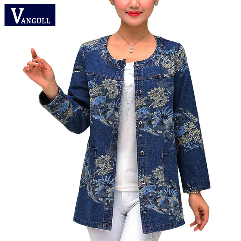 Women Denim Jackets New Style Cotton Tops Ladies Print Single Breasted Casual O-Neck Loose Jean Coats Large Size Outerwear