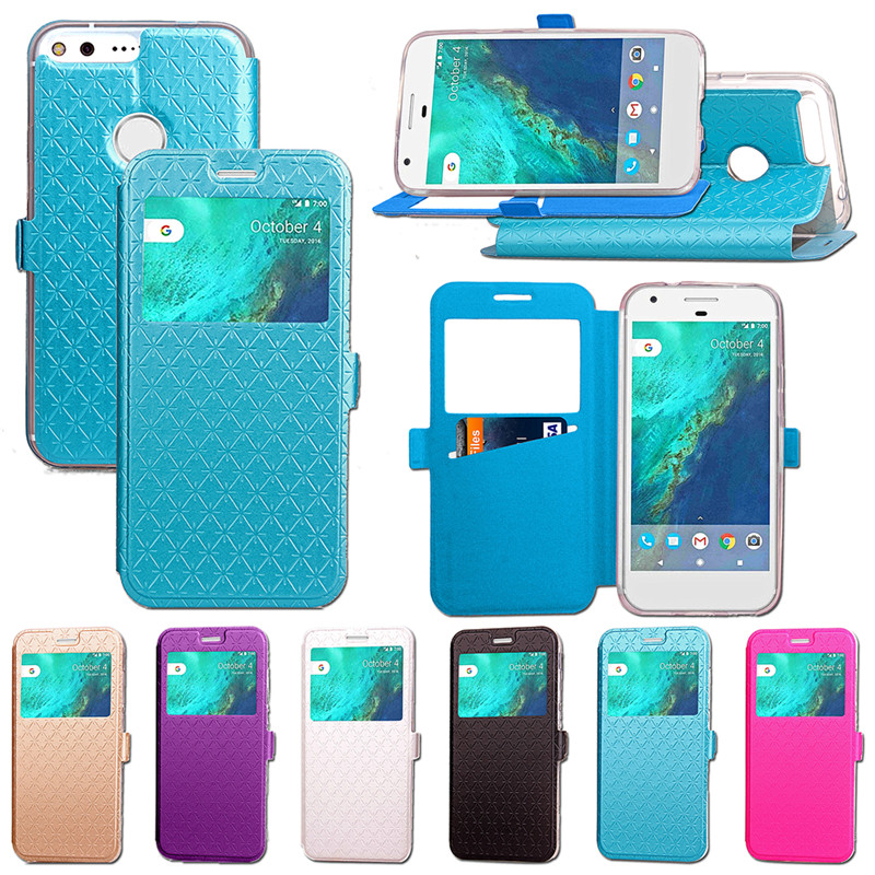 Window View Flip Wallet Case For Google Pixel XL PU Leather Stand Card Slots Phone Cover For Google Pixel/Pixel XL Funda