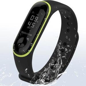 Image 3 - مزدوج ملون mi 3 حزام pulsera قابل للتعديل سيليكون المعصم حزام استبدال ل شاومي mi 3 الذكية أساور smartband
