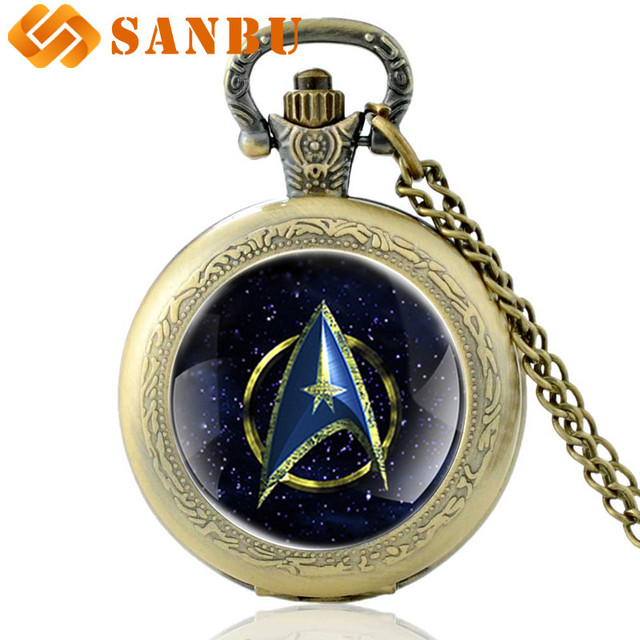 Antique Bronze Star Trek Quartz Pocket Watch Necklace Vintage Men Women Jewelry