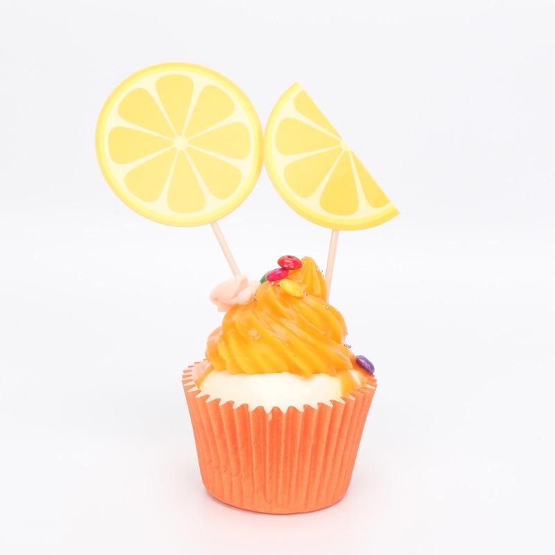 6pcsset Lovely Food Fruit Cupcake Topper Lemon Orange Wedding Cake