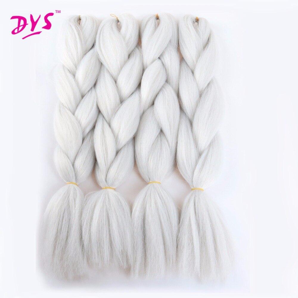 Deyngs Silver Gray Kanekalon Long Braiding Hair Extensions Kinky Twist Bulk African Hairstyle Natural Hair Braid Synthetic1 Pcs