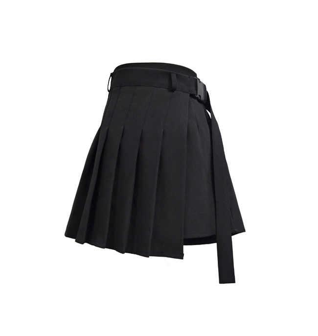 Mulheres Shorts De Cintura Alta Saias Adomoe com Bolso Japão Harajuku Duro Menina Irregular Plissadas Mini Saia de Moda da Manta Do Vintage