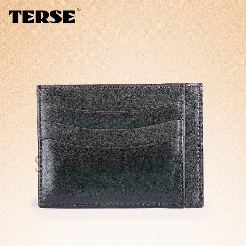 TERSE_Factory to customer slim card wallet genuine leather handmade ID card holder for men in black/ iron grey/ coffee OEM ODM