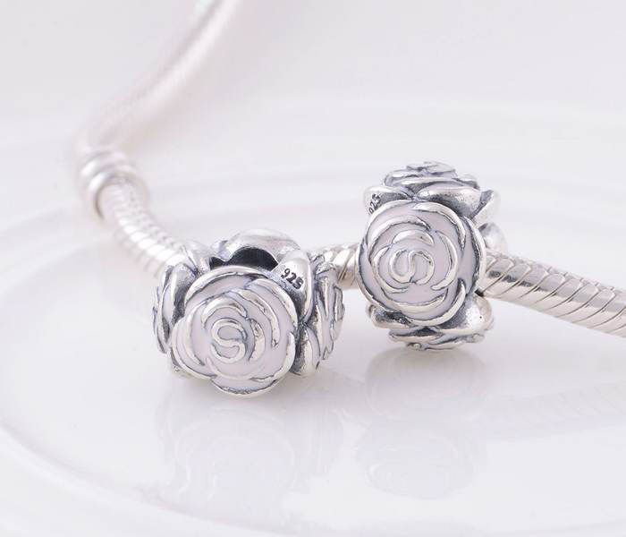 Garden Charms: Authentic 925 Sterling Silver Rose Garden Pink Enamel Bead