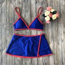 Купить с кэшбэком Women Sexy Bikini Set Swimsuits 2019 Summer New Low Waist Padded Push Up Types Swimwear Beach BathWea Bikini Short skirt