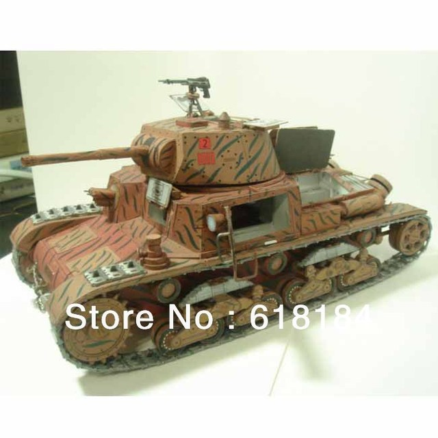 US $23 0 |Free shipment paper model Tank 1:25 scale World War II Italy  M13/40 Tank Military Vehicles 3d puzzles for adult diy paper crafts-in  Model