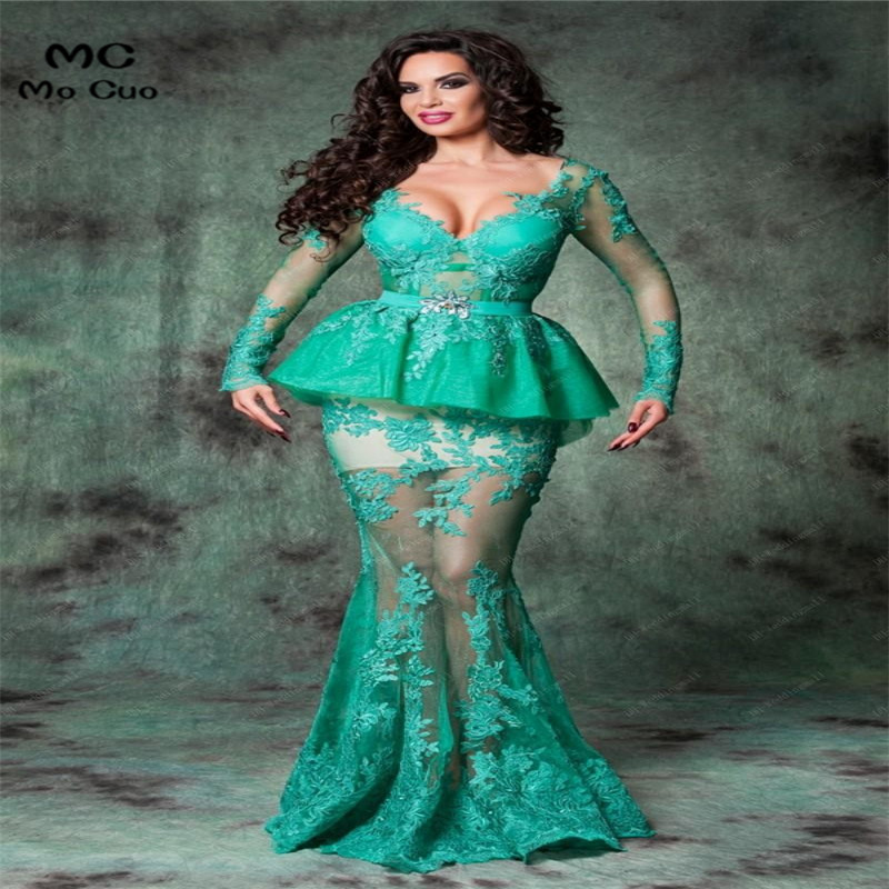 2018 Backless Arabic Romania Evening Gowns Mermaid Lace Long Sleeves Evening   Dresses   V-neck Floor Length Sexy Hot   Prom     Dresses