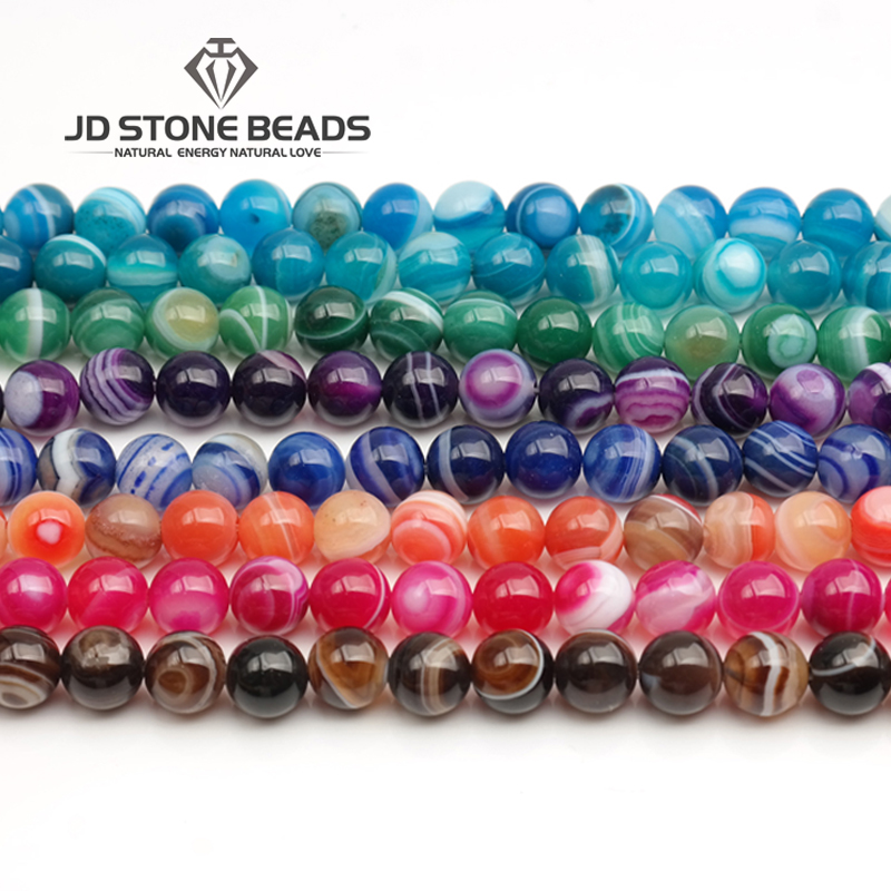 Wholesale Agates Stripe Natural Onyx Stone Beads Round Beads For Jewelry Making Diy Necklace Bracelet 4/6/8/10/12 MM