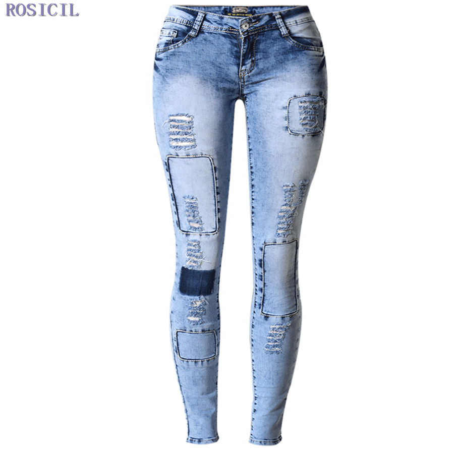 ROSICIL Summer 2016 High Waist Jeans Women Sexy Skinny Jeans Stretch Leggings Slim Pencil Denim Pants Trousers For Women rosicil women jeans plus size stretch skinny high waist jeans pants women blue pencil casual slim denim pants top 003