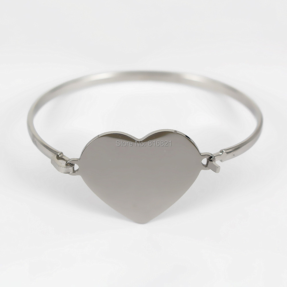 60mm Stainless Steel Cuff Bangle Bracelet with Heart Cross Charms ...