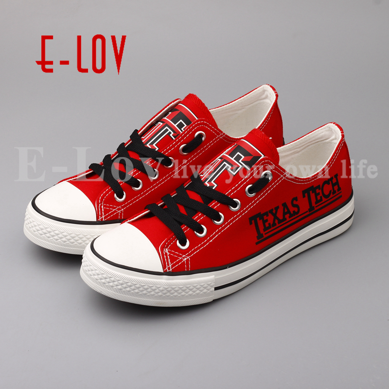 E-LOV  New Design Texas Tech Red Raiders Gift Shoes Red Canvas Shoes Graffiti Groups Shoes Drop Shipping e lov women casual walking shoes graffiti aries horoscope canvas shoe low top flat oxford shoes for couples lovers