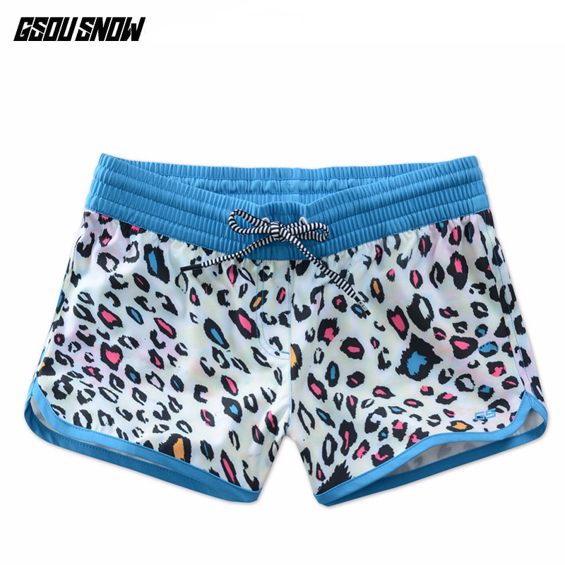 GSOU SNOW femal Shorts Beach Board Shorts Bermuda Surfing Trunks Swimwear Summer Swim Shorts Plus Size Printed