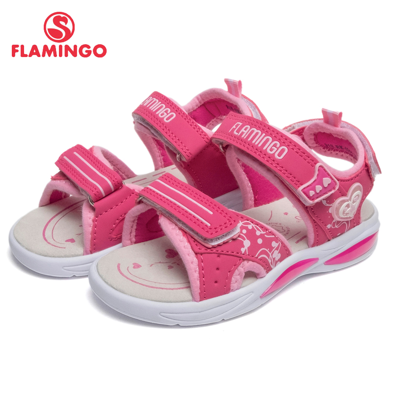 FLAMINGO Brand Arch Leather Insoles Hook& Loop Children Shoes Ankle-Warp Kids Sandal For Boy Size 25-31 Flat 91S-BK-1244