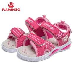 Marca flamenco plantillas de cuero arco gancho y bucle niños zapatos tobillo-Urdimbre niños sandalia para niño tamaño 25-31 plana 91S-BK-1244