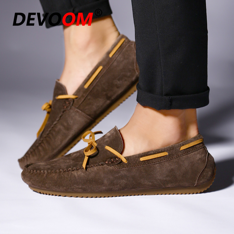 Summer Mocasin Genuine Leather Mens Driving Shoes Slip on Retro Loafers Bow Leather Shoes lace Bowtie Upper Suede Leather Casual 3
