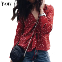 Vintage Crop Top Women Tops Deep V Neck Star Print Long Sleeve Casual Shirt Women Chiffon