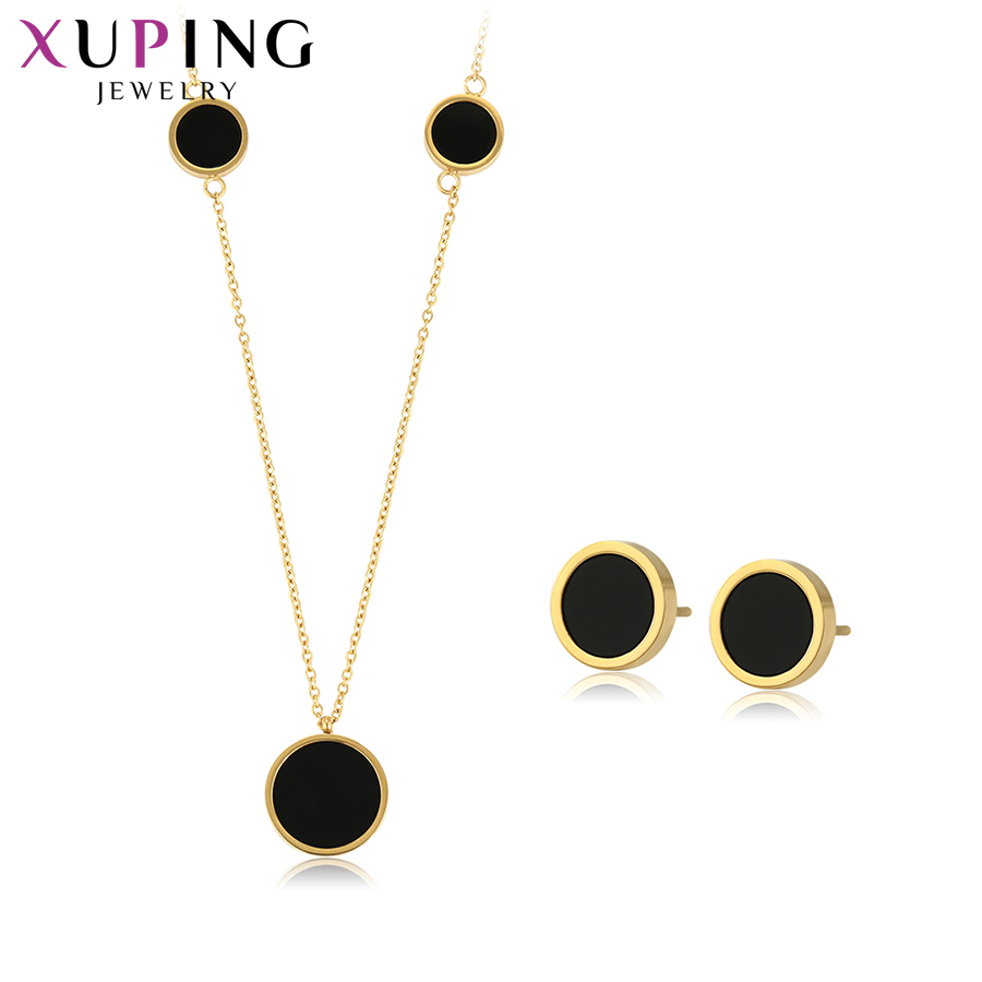 Xuping New Arrival Jewelry Sets Long Necklace Vintage Light Yellow Color Plated for Women Gift for Family Party Day S196.9 65532