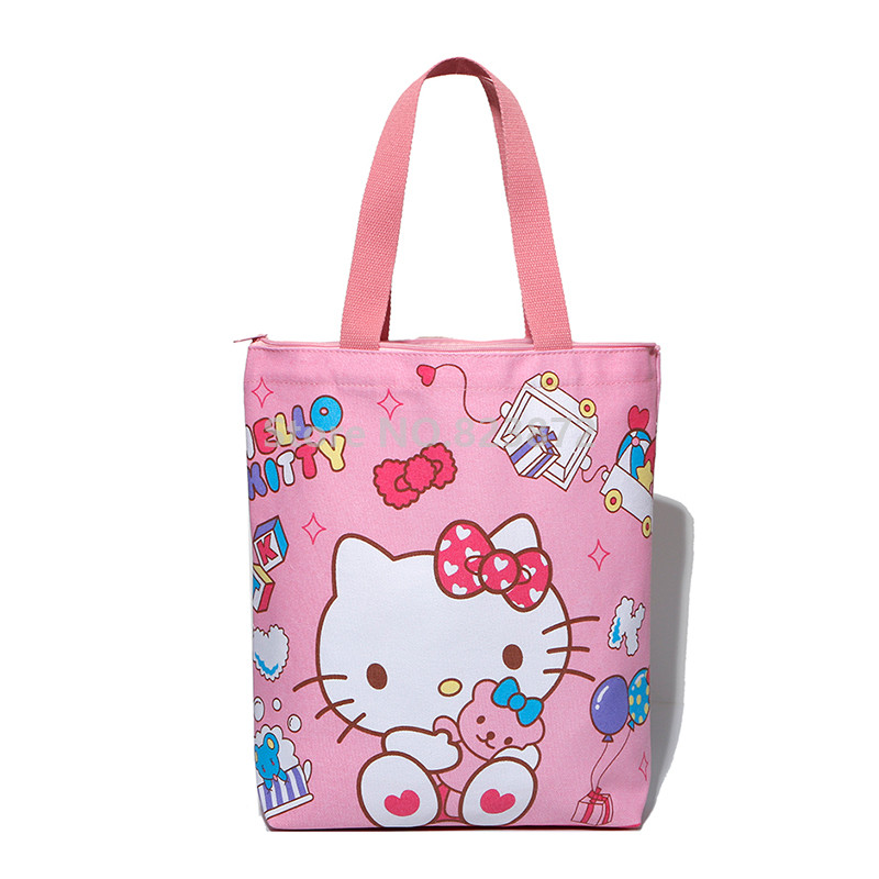 Cute Hello Kitty Cat Canvas Bag Women Shoulder Bag Large Handbag Kawaii  Cartoon Printing Girls School Book Shopping Bag Zipper-in Shoulder Bags  from Luggage ... 205643ef05