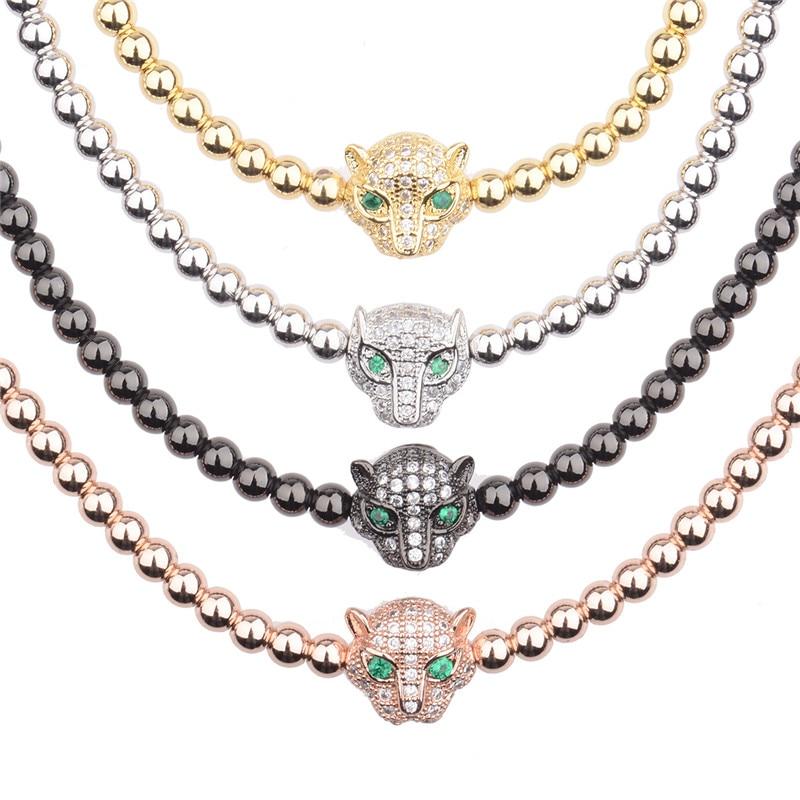 Trendy Men Rose Gold Crystal Leopard Head & 4mm Beads Braiding Macrame Bracelets AB1001