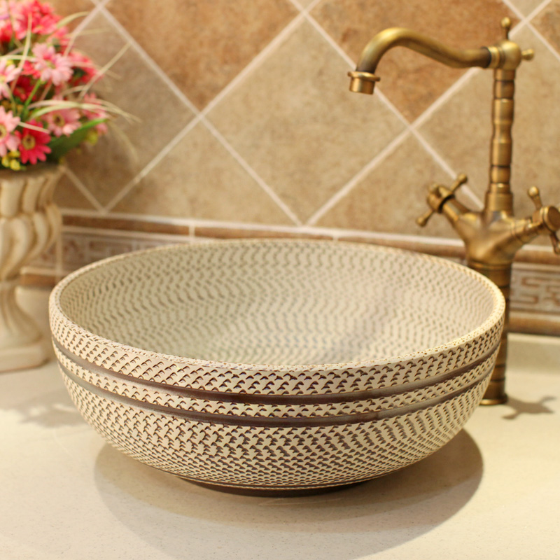 Gray Thread pattern porcelain bathroom vanity bathroom sink bowl countertop Ceramic wash basin bathroom sink
