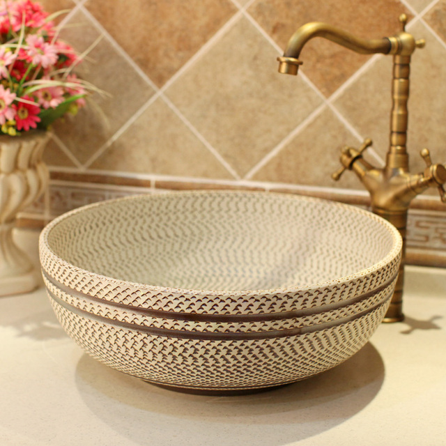 Gris Hilos patrón porcelana baño vanidad baño fregadero encimera ...